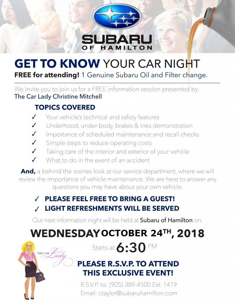 October 24th Subaru of Hamilton Event